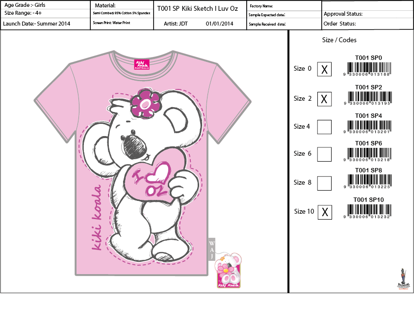 T001 SP Kiki Sketch Tee Shirt Sell Sheet A4