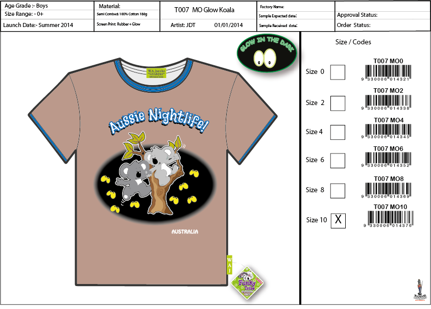 T007 MO Glow Koala Shirt Sell Sheet A4