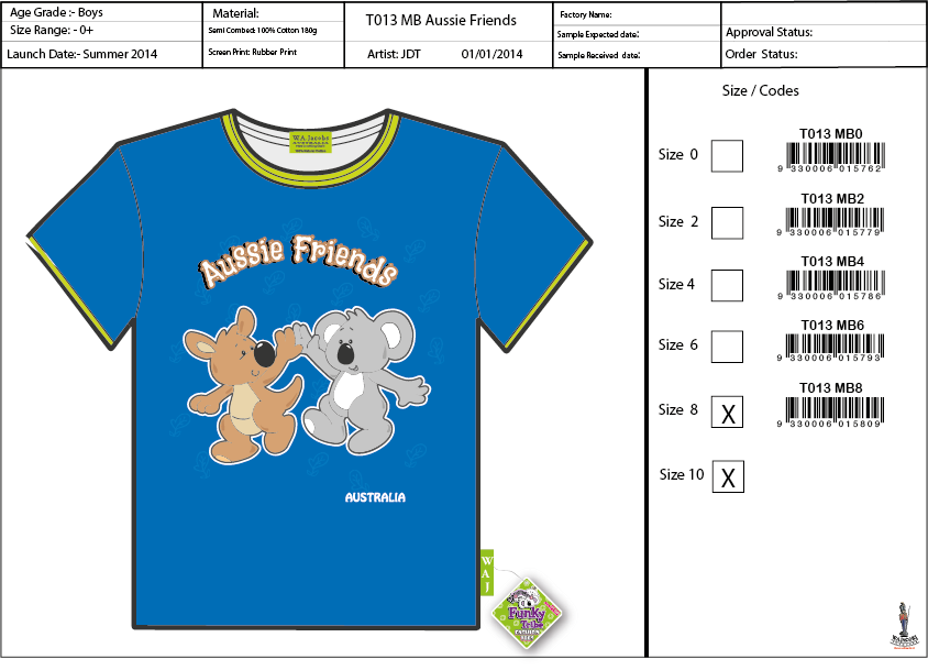 T013  MB Aussie Friends Shirt Sell Sheet A4