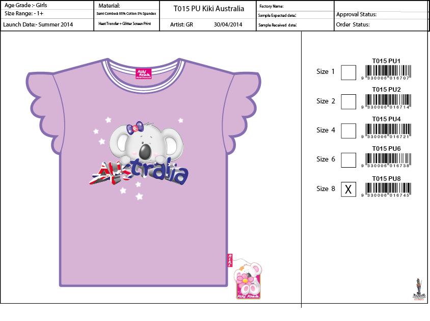 T015 PU Lilac Kiki Australia Tee Shirt Sell Sheet A4