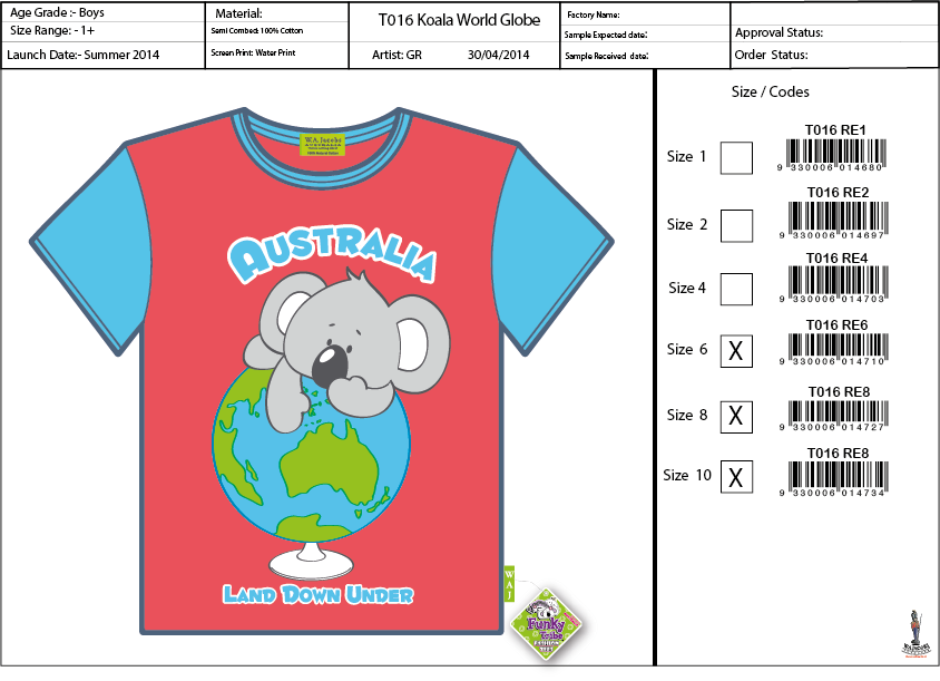 T016 RD Koala World Globe Shirt Sell Sheet A4