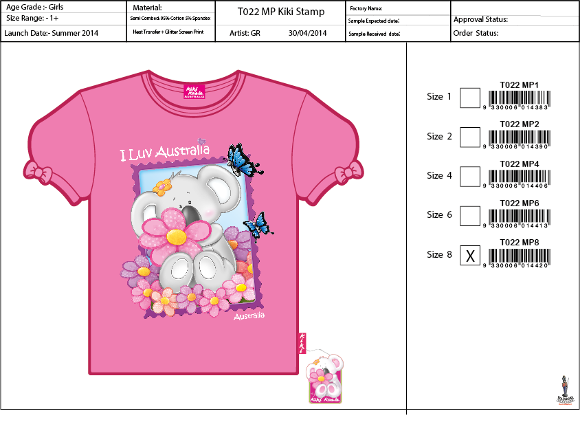 T022 Stamp WH Tee Shirt Sell Sheet A4