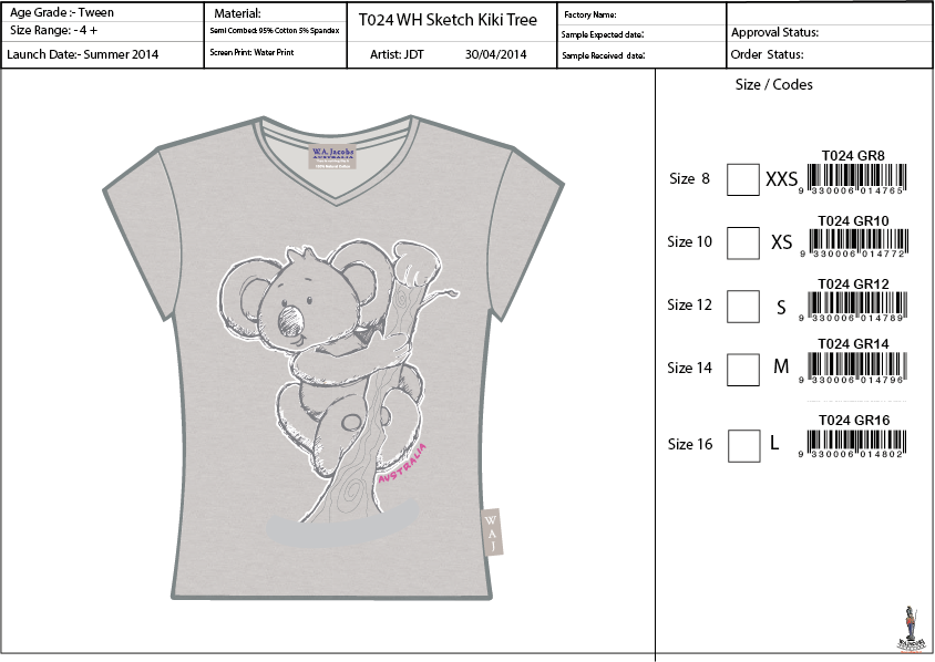 T024 Koala In Tree Sketch Tee Shirt Sell Sheet A4