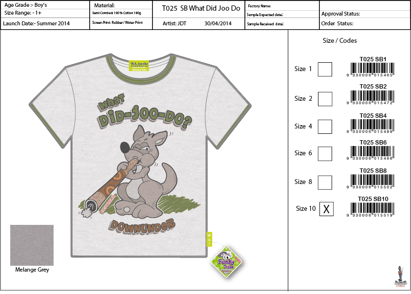 T025 GR What Did Ya Do Kangaroo Tee Shirt Sell Sheet A4 copy