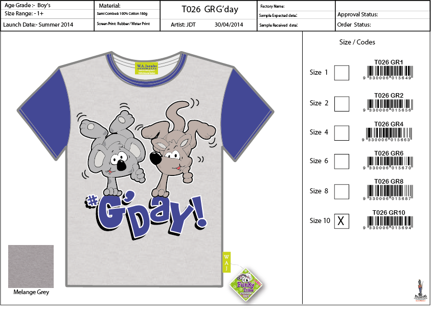 T026 WH Tee Shirt Sell Sheet A4