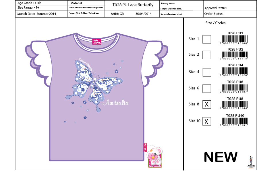 T028 Lace Butterfly Tee Shirt Sell Sheet A4
